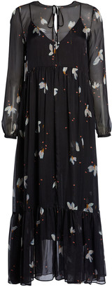 Forte Forte Mahonia Print Silk Chiffon Long Flounced Dress