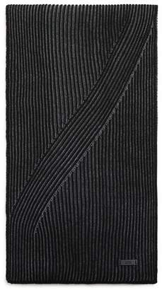 HUGO BOSS Ballos Virgin Wool Ribbed Scarf