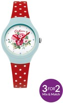 Cath Kidston Spray Flowers White Floral Printed Dial Red Polka Dot Silicone Strap Ladies Watch