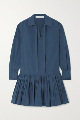 See by Chloe Pleated Broderie Anglaise-trimmed Cotton-poplin Mini Shirt Dress - Blue