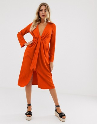 ASOS DESIGN casual textured midi dress with knot waist