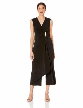 Calvin Klein Women's Sleeveless V-Neck Jumpsuit with Front Drape Dress