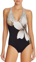 Carmen Marc Valvo Gilded Garden V-Neck One Piece Swimsuit