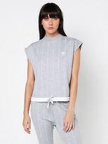 adidas High Neck T Shirt In Grey Pinstripe size L