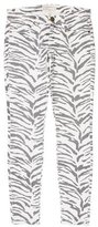 Current/Elliott Zebra Print Low-Rise Skinny Jeans