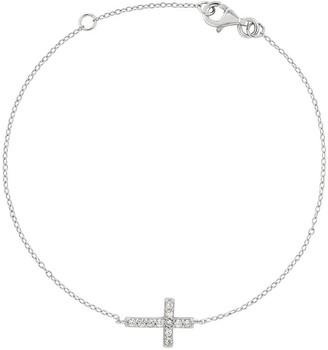 Sterling Crystal Sideways Cross Adjustable Bracelet