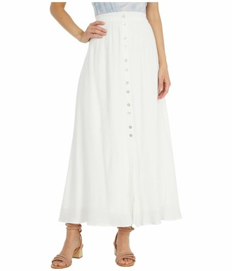 Cupcakes And Cashmere Women's Lula Slub Natural Button Down Maxi Skirt with Elastic Waist