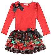 Bonnie Jean 7-16 Knit-Bodice & Printed-Tutu-Skirted Dress