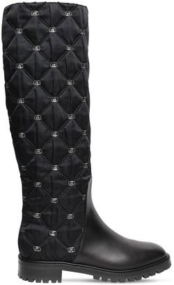 Alberta Ferretti 25mm Satin & Leather Tall Boots