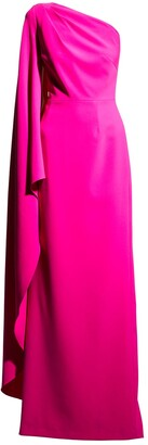 Rickie Freeman For Teri Jon Cape-Sleeve One-Shoulder Crepe Gown