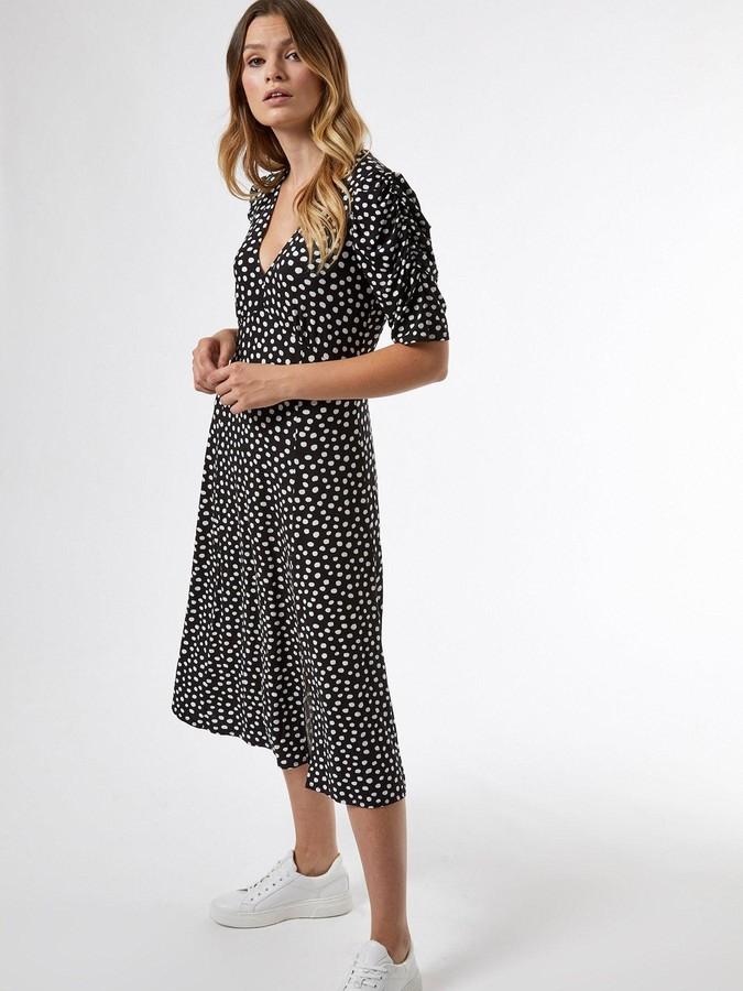 Thumbnail for your product : Dorothy Perkins Empire Seam Midi SplitSpot Dress - Black