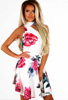 Pink Boutique Roses and Romance White and Pink Floral Asymmetric Skater Dress