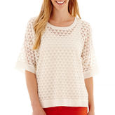 JCPenney STYLUS Stylus 3/4 Sleeve Textured Peasant Top