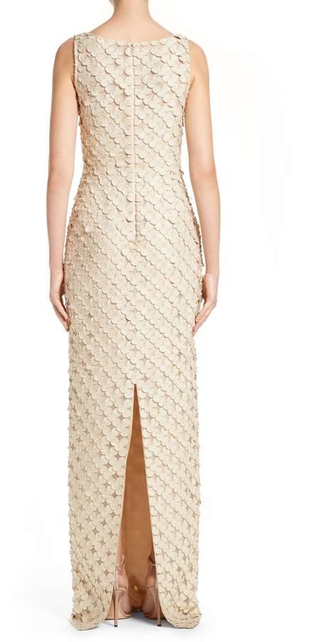 Carmen Marc Valvo Couture Circle Applique Sleeveless Column Gown