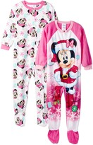 AME Minnie Mouse Holiday Fleece Footed Blanket Sleepers – Set of 2 (Toddler Girls)