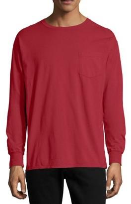 Hanes Men's and Big Men's ComfortWash Long Sleeve Pocket Tee, Up To Size 3XL