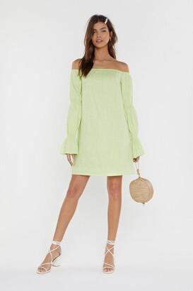 Nasty Gal Womens Linen Bardot Seam Sleeve Detail Mini Dress - Green - 6, Green