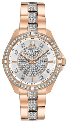 Bulova Women's 98L229 'Crystal' Rose Gold-Tone Stainless Steel with Sets of Crystal Watch - Silver