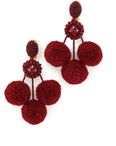 Oscar de la Renta Triple Pom Pom Clip On Earrings