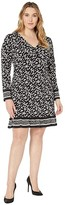MICHAEL Michael Kors Plus Size Dancing Petal Twist Neck Border Dress (Black) Women's Dress
