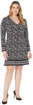 MICHAEL Michael Kors Size Dancing Petal Twist Neck Border Dress (Black) Women's Dress