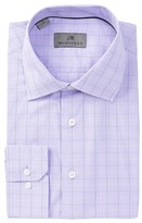 JB Britches Lavender Plaid Trim Fit Dress Shirt