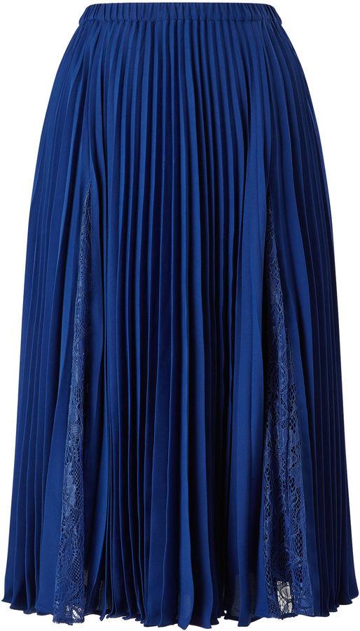 Jacques Vert Plisse Lace Insert Skirt