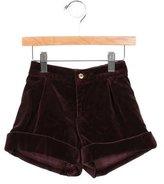 Oscar de la Renta Girls' Cuffed Velvet Shorts