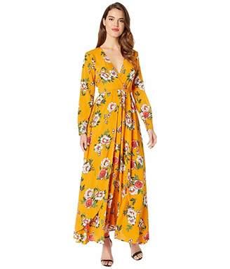 Unique Vintage Long Sleeve Farrah Maxi Dress (Mustard/Floral) Women's Dress