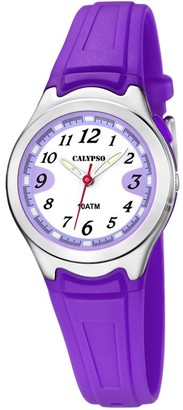 Calypso Women's Quartz Watch with White Dial Analogue Display and Purple Plastic Strap K6067/2