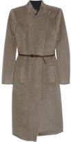 Belted mohair-blend coat