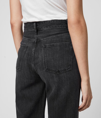 AllSaints Ash Cropped High-Rise Boyfriend Jeans, Washed Black