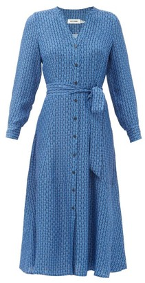 Cefinn Davika Geometric-print Twill Shirtdress - Blue