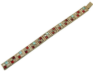 One Kings Lane Vintage 1920s Art Deco Crystal Bracelet - Neil Zevnik - silver/red/aqua/gray