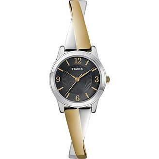 Timex Women's Fashion Stretch Bangle Crisscross 25mm Analog Quartz Stainless Steel Strap