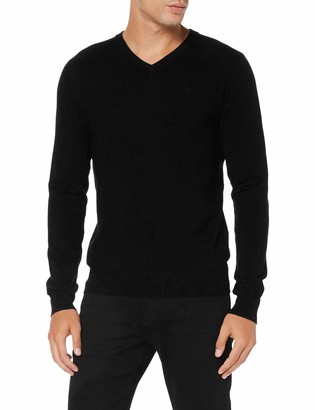 Trussardi Jeans Men's V Neck Ribs Slim Fit Viscose N Jumper