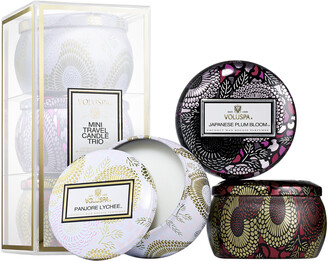 Voluspa Mini Candle Trio - Panjore Lychee, Japanese Plum Bloom, Goji & Tarocco Orange