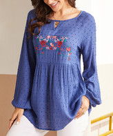 Suzanne Betro Weekend Women's Tunics 101NAVY - Navy Floral-Embroidered Swiss-Dot Babydoll Tunic - Women & Plus