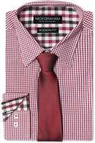 Nick Graham Men's Modern Fitted Gingham Dress Shirt & Solid Tie Set