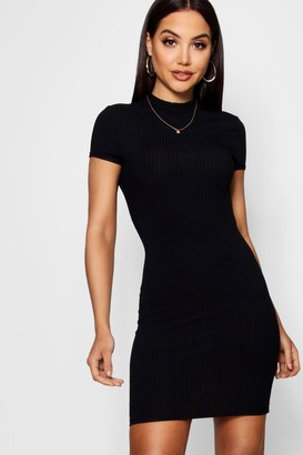 boohoo High Neck Cap Sleeve Rib Bodycon Dress