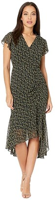 Sam Edelman Ditsy Flowers Short Sleeve (Black/Yellow) Women's Dress