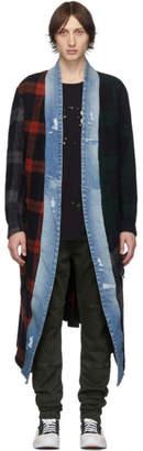 Greg Lauren Blue and Red Long Mixed Plaid Kimono Coat