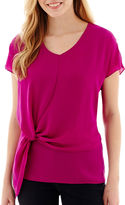JCPenney A.N.A a.n.a Short-Sleeve Knot-Front Blouse