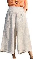 Ecupper Womens A-line Vintage High Waist Linen Loose Wide Leg Cropped Trousers Pants