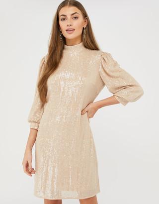Monsoon Adara Sequin Short Dress Pink