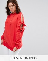 Alice & You Longline Hoodie With Tie Detail Cold Shoulder