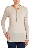Peter Nygard Petite Half Zip Fitted Tunic