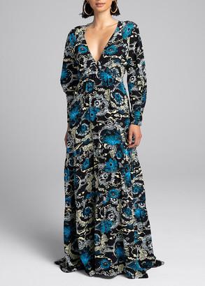 A.L.C. Gwyneth Tiered Satin Maxi Dress