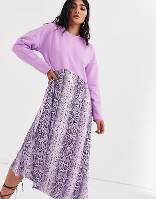 Asos Design DESIGN sweat midi dress with snake print hem in purple