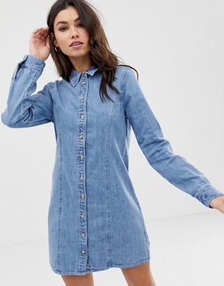 ASOS DESIGN denim fitted western shirt dress in midwash blue